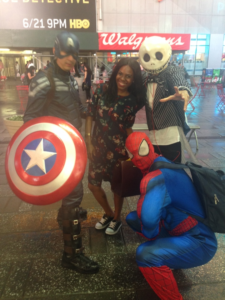 At Time Square ...met these cool dudes!! #SuperHeroMoment
